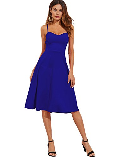 Floerns Women's Spaghetti Straps Backless Flared Cocktail Party Dress Blue M