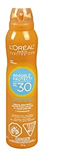 L'Oreal Paris: INVISIBLE PROTECT, SPF 30 Spray with VITAMIN-E. Alcohol-Free, WATER RESISTANT Advanced Sunscreen / Sun Tan Lotion / Block.