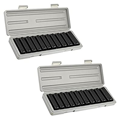 "Domeiki Deep Impact Sockets 24pc Set 1/2"" Dr Air Power Carbon Steel Case SAE & Metric"