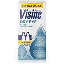 Visine Dry Eye Relief Lubricant Eye Drops for Irritated & Dry Eyes, 0.5 fl. oz (Pack of 2)