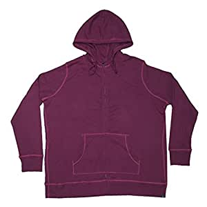 Eddie Bauer Womens Warm Ribbed Knit Zip-Up Hoodie / Jacket XL Purplish Red