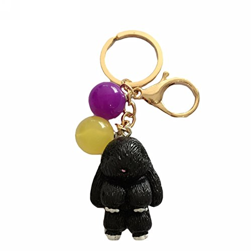 Mwfus Cute Bunny Rabbit Keychain Charms Handbag Cellphone Beads Pendant Keyring Gift