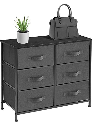- Sorbus Dresser with 6 Drawers - Furniture Storage Tower Unit for Bedroom, Hallway, Closet, Office Organization - Steel Frame, Wood Top, Easy Pull Fabric Bins (6 Drawer - Black)