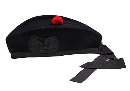 (Glengarry Hat Plain Black -100% Pure Wool Classic Scottish Design SIZES 50-64CM (7.3/8 - (58 CM)))