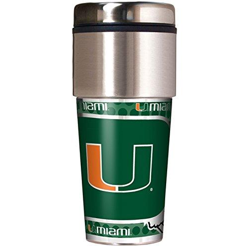NCAA Miami Hurricanes 16 oz Travel Tumbler with Metallic (Miami Hurricanes Travel Tumbler)