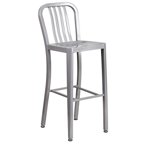 MFO 30'' High Silver Metal Indoor-Outdoor Barstool with Vertical Slat Back