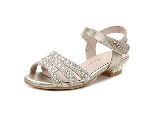 Always Pretty Little Girls Open Toe Pumps Toddler Girl Sandals Dress Shoes Gold 2 M US Little -
