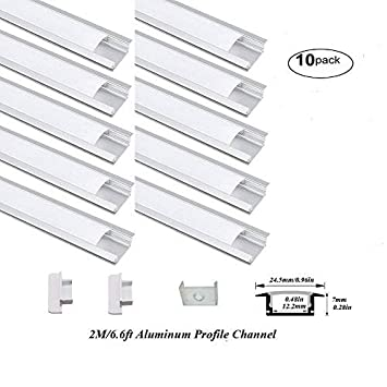 Hanks 20Pack 2M//6.6ft 24.5X7mm Shallow Flush Mount Aluminum Channel Profile Extrusion for Wall and Ceiling with Milk Cover End Caps Mounting Clips 20X2M Milk