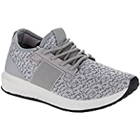 RF ROOM OF FASHION Women's Lace Up Stretch Flyknit Fashion Sneakers - Lightweight Sporty Casual Flats - Low Top Walking Shoes
