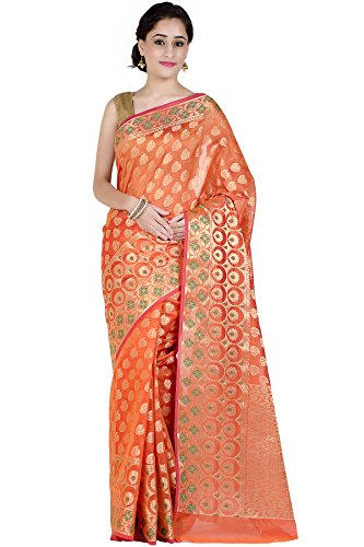 Chandrakala Women's Orange Chanderi Banarasi Saree,Free Size(1244ORA)
