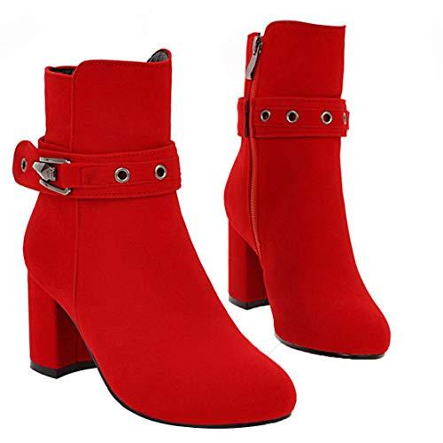 Aiyoumei Rojo Mujer De Terciopelo Clásicas Botas wqwprxCz
