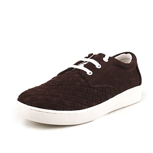 Shenduo Men's Suede Leather Sneakers Lace up Espadrilles Flat Shoes D7366 Coffee