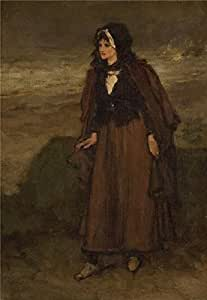 The high quality polyster Canvas of oil painting 'unknown,Woman by the Sea,19th-20th century' ,size: 24x35 inch / 61x88 cm ,this High quality Art Decorative Canvas Prints is fit for Foyer decoration and Home gallery art and Gifts