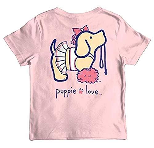 (Puppie Love Cheerleader Pup Youth Short Sleeve T-Shirt-Small Light)
