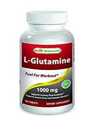 Best Naturals L-Glutamine 1000 mg 180 Tablets - Glutamine fuel for workout & Supports muscle recovery from workouts