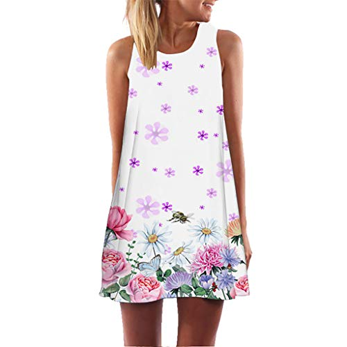 Malltop Vintage Women Summer Sleeveless Beach Floral Printed Short Mini Dress Casual A-Line Dress Plus Size S-2XL Purple