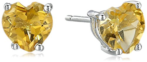 Citrine Heart Shaped Stud Earrings in 10k White - Citrine Heart Gold