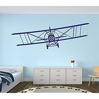 Amazon Com Large Airplane Wall Decal Biplane Wall Art
