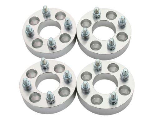 4pcs 1 inch (25mm) Wheel Adapters Spacers 4x4.25 to 4x100 (Changes Bolt Pattern) with metric 12x1.5 Studs Nuts for many Ford Mercury and More (4x108 to 4x100)