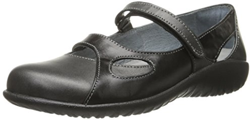 NAOT Women's Taranga Mary Jane Flat, Metallic Road Leather/Black Madras Leather, 39 EU/7.5-8 M US