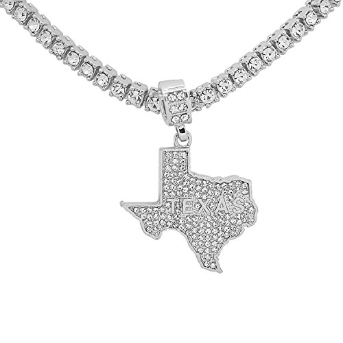 Texas Star Pendant - White Gold-Tone Hip Hop Bling Simulated Crystal Lone Star State Texas Map Pendant with 18