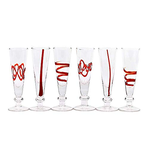IMPULSE! Crazy Red Cordial Hand-Crafted Glass, Set of 6