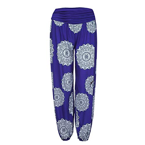 (Gogoodgo Womens Boho Print Pants, Ladies Elastic Waist Loose Harem Pants Full Length Baggy Trousers Blue)