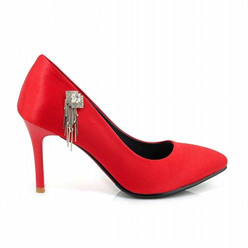Carolbars Womens Pointed Teen Rhinestones Hoge Hakken Stiletto Pumps Schoenen Rood