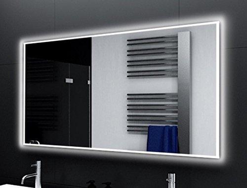 Breite 160 cm x Hoehe 80 cm Badspiegel Designo MA4111 mit A++ LED Beleuchtung - (B) 160 cm x (H) 80 cm - Made in Germany - Technik 2019 Badezimmerspiegel Wandspiegel Lichtspiegel TIEFPREIS rundherum beleuchtet Bad Licht Spiegel