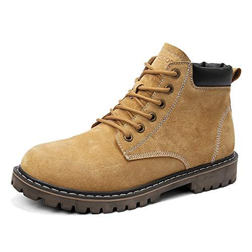 LOVDRAM Stiefel Männer Outdoor Freizeitschuhe Damenschuhe Hohe Hilfe Werkzeugschuhe Martin Stiefel Leder Rutschfeste Schuhe Männer