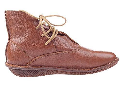 Cuero Planos Marr 1 Zapatos Mujer Vogstyle de Estilo Nuevos Botas Para Eq6BO0w