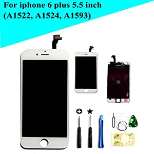 """New White LCD screeen replacement for iphone 6 plus 5.5"""" with tool kit and direction video and instructions(model: A1522, A1524, A1593)"""