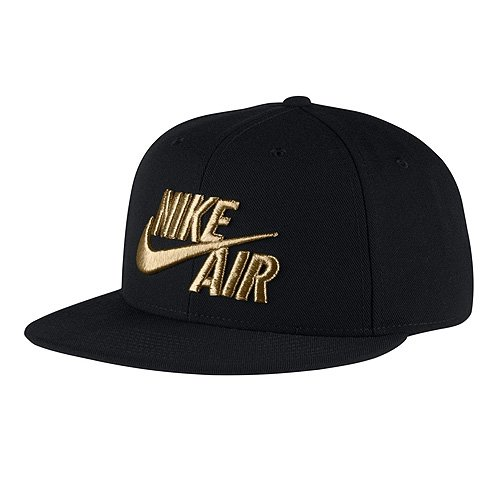 Amazon.com  NIKE Mens Air True Snapback Hat Black Metallic Gold ... 485330b3612