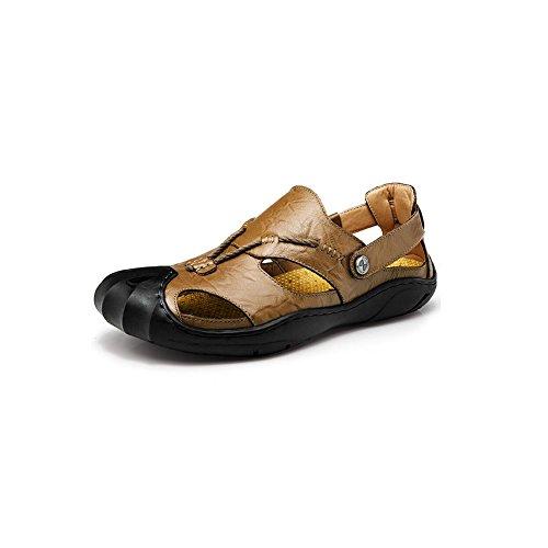 Confortables Beach de UK9 EU43 Hommes Fashion en Toe Couleur Sunny CN44 d'été Plein Chaussures Chaussures Closed Kaki Taille Kaki Chaussures Cuir air Hommes pour Sandales Sandales ggBwanUqX