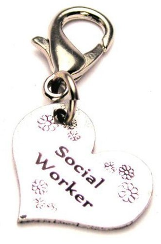 Social Worker ChubbyChicoCharms Pewter Charm Zipper Pull