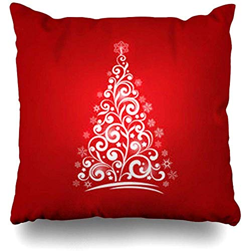 - Throw Pillow Covers Celebrate Red Ball Ornamental Christmas Tree Holidays Graphic Abstract Celebration Cold Color Ribbon Home Decor Pillow Pillowcase Square Size 18 x 18 Inch Case