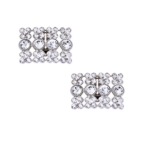 ElegantPark AX 2 Pcs Shoe Clips Rhinestones Wedding Party Decoration Silver by ElegantPark