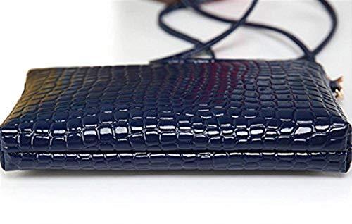 Nouveau coloré bandoulière Moontang Crossbody en Cuir Femme Sac à Messenger Rose Bleu Taille Clutch Crocodile 4dPxwFUqP