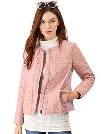 Allegra K Women's Zip up Lightweight Gilet Quilted Jacket XS Pink