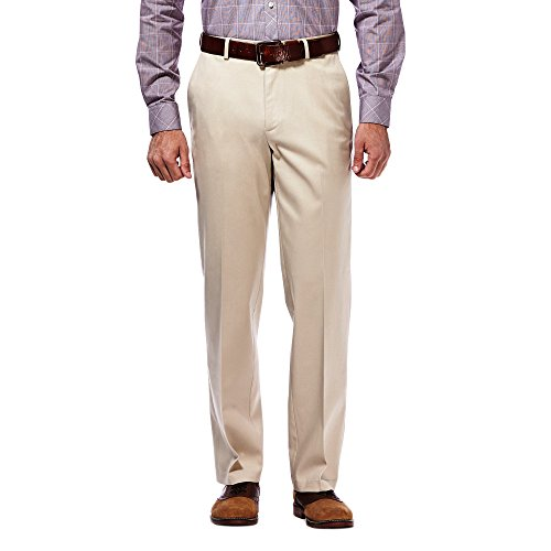 - Haggar Men's Classic Fit Flat-Front Hidden Expandable Waistband Premium No Iron Khaki, 33W x 32L - Sand