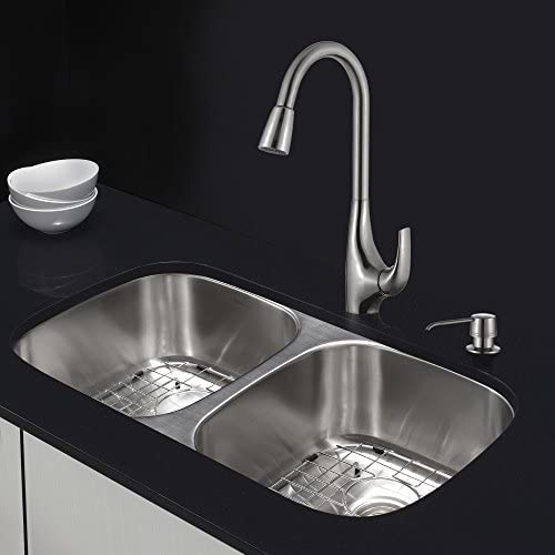 Kraus KHF200-36-KPF1612-KSD30SS 36 Farmhouse Single Bowl Stainless Steel Kitchen Sink with Stainless Steel Finish Kitchen Faucet and Soap Dispenser