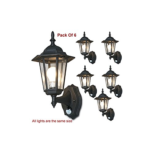 Stylish 6-Panel Wall Lantern System W/IR Motion Sensor + Time/Lux Control (Pack of 6) ()