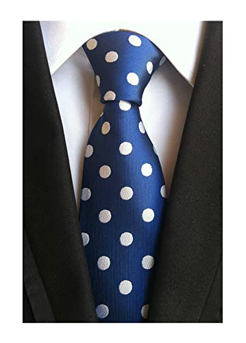 (Men's Midnight Blue White Dot 100% Silk Self Cravat Ties Designer Necktie Online)
