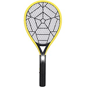 Electric Fly Swatter-Rechargeable Bug Zapper Racket and Mosquito Insects Killer-3000 Volt- Fly Traps with Bright LED Light-3-Layer Mesh Safe to Touch for Indoor and Outdoor Pest Control