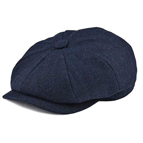 (BOTVELA Men's 8 Piece Wool Blend Newsboy Flat Cap Herringbone Pattern in Classic 5 Colors (Navy, L))