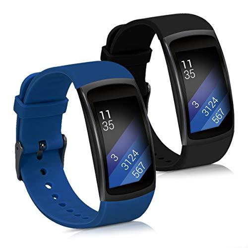 kwmobile 2X Pulsera para Samsung Gear Fit2 / Gear Fit 2 Pro - Brazalete de Silicona Azul Oscuro/Negro sin Fitness Tracker