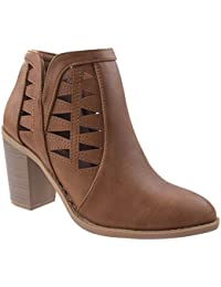 Women's Dave-55 Pointed Toe Chunky/Block Heel Booties with Decorative Cut Outs