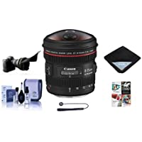 Canon Canon EF 8-15mm f/4.0L USM Wide Fisheye Zoom Lens USA - Bundle with Flex Lens Shade, Cleaning Kit, Capleash II, Lens Wrap (15x15), Software Package