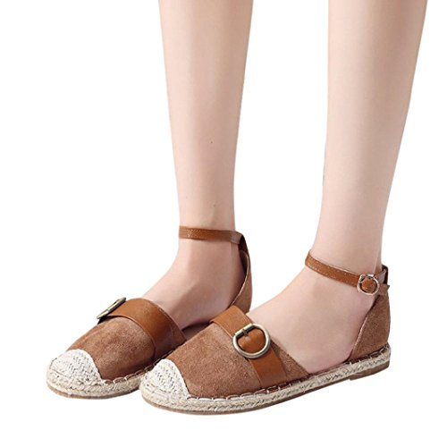 vermers Hot Sale Womens Strap Buckle Sandals - Casual Espadrilles Fashion Summer Holiday Shoes(US:7, Khaki) by vermers