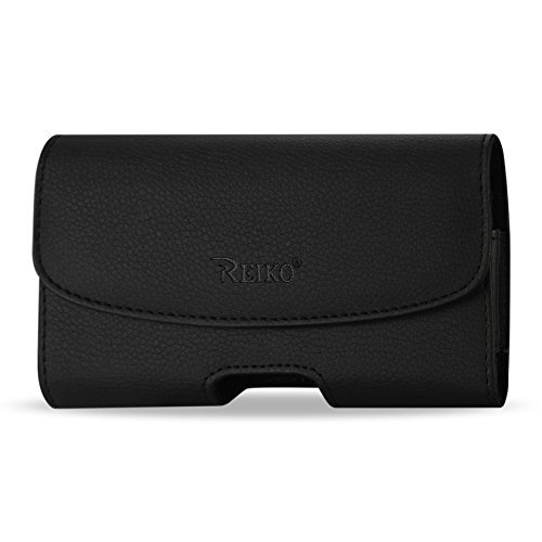 OEM REIKO Premium Leather Carrying Side Case Pouch Holster Clip with 2 Belt Loop for Alcatel OneTouch Fierce 2 - Alcatel OneTouch POP Icon - Amazon Fire Phone - Apple iPhone 6 - Asus PadFone X - Blac